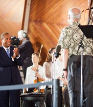 "On Aug. 28, Governor Deval Patrick participated in Landmark Orchestra's commemoration of the 50th anniversary of Dr. Martin Luther King Jr.'s ""I have a dream"" speech and the March on Washington at the DCR Hatch Shell on the Charles River Esplanade in Boston."