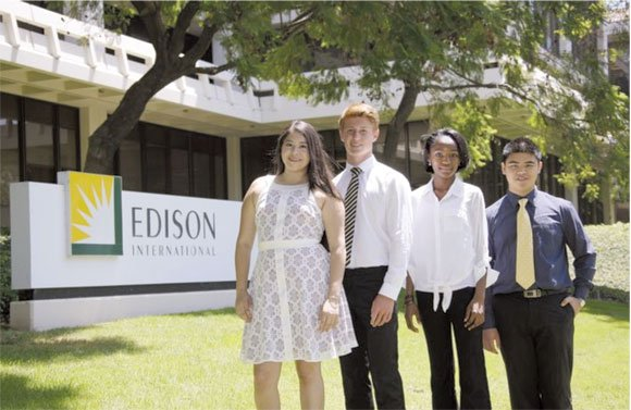 Hawthorne student Chika Okonkwo, third from left, was one of 30 students selected by Edison International this year to each receive a $40,000 scholarship to pursue studies in the STEM (science, technology, engineering, and math) field.