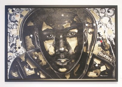 """Profiled"" Mixed Media by Larry Poncho Brown is part of the exhibit ""The Art of Justice: Honoring and Continuing a Movement for Equality through Artistic Expression"" at the Mount Rainier Artist Lofts Gallery in Mount Rainier, Md."