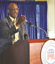 Robert Woodson, founder and president of the National Center for Neighborhood Enterprise, shares his opinion with fellow Republicans and Democrats during a luncheon commemorating the 50th anniversary of the March on Washington for Jobs and Freedom on Aug. 26.