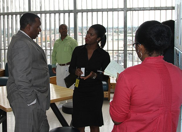 Suffolk County Sheriff Steven W. Tompkins recently hosted District 5 Boston City Council candidate Ava Callender for a tour through of the Suffolk County House of Correction (HOC). During the tour, Sheriff Tompkins (far left) spoke with Callender (center) about the myriad educational and vocational programs made available to inmates at the HOC, as well as several of the department's external public safety initiatives.