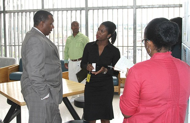 Suffolk County Sheriff Steven W. Tompkins recently hosted District 5 Boston City Council candidate Ava Callender for a tour through of the Suffolk County House of Correction (HOC). During the tour, Sheriff Tompkins (far left) spoke with Callender (center) about the myriad educational and vocational programs made available to inmates at the HOC, as well as several of the department's external public safety initiatives. (Photo courtesy of Suffolk County Sheriff's Office)