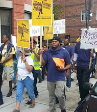 The New England District 615 of 32BJ SEIU led a march on Labor Day that called for improved working conditions, a higher minimum wage and employee benefits. The demonstration went from Cambridge City Hall to Harvard University.