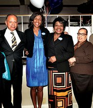 (L-R) Shirley Owens-Hicks, Royal Bolling Jr., Charlotte Golar Richie, State Rep. Gloria Fox, former Boston Housing Chief Doris Bunte and Bill Owens at Golar Richie's fund-raiser for her mayoral campaign at the Old Colony Restaurant in Dorchester. Golar Richie received endorsements from the iconic Boston political families the Owens and the Bollings. (Don West photo)