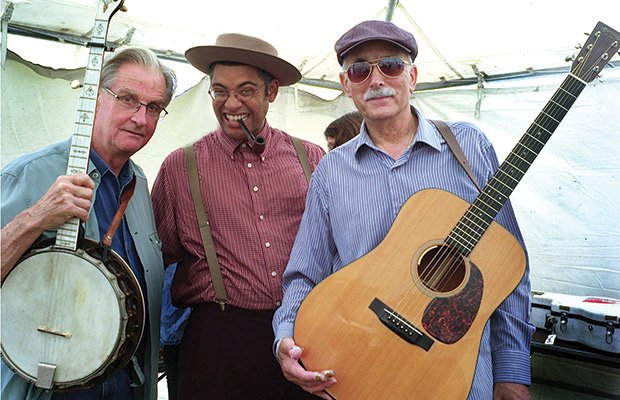 (L-R) Geoff Muldaur of the Jim Kweskin Jug Band, Dom Flemons of the Carolina Chocolate Drops and Jim Kweskin of the Jim Kweskin Jug Band before a performance at the Rhythm and Roots Music Festival held in Charlestown, R.I., over the Labor Day weekend. (Don West photos)