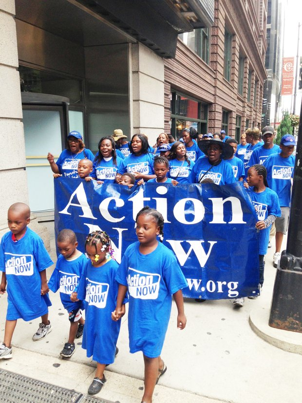 Action Now march in downtown Chicago to have a democratically elected school board.
