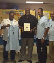 (Left to right) Rev. Terrance Jones; George Redd; Ralph Thomas; Reginald Broddie, Rev. Stephen Tillett; Clifton Johnson; and Morgan Smith.