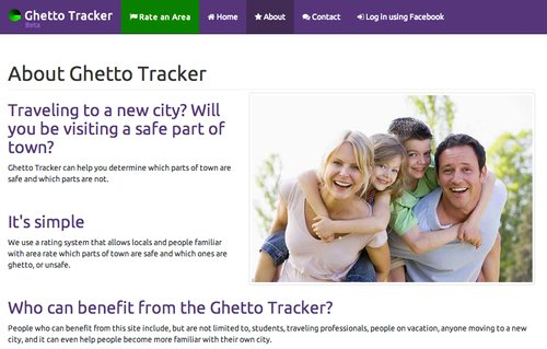 A stock photo of a smiling White family was prominent on GhettoTracker.com homepages, which since has been shutdown.