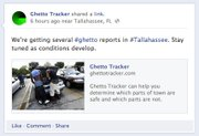 "GhettoTracker.com Facebook page showed two young Black men looking in a car under a warning about ""#ghetto reports in #tallahassee."""