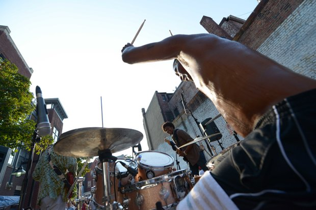 """Legendary D.C. drummer William """"Ju Ju"""" House puts the finishing touch on a perfect set during his performance with the band Sitali at Adams Morgan on Sunday, September 9"""