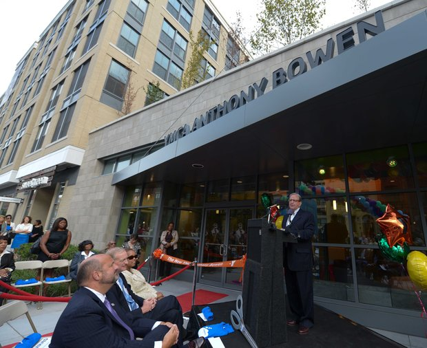 D.C. Council member Jim Graham (D-Ward 1) speaks during a ribbon-cutting ceremony at the newly refurbished Anthony Bowen YMCA in Northwest on Monday, Sept. 9.