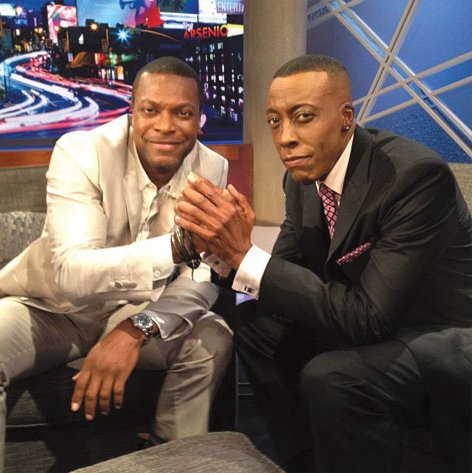 "Chris Tucker and Arsenio Hall on the premiere of ""Arsenio."""