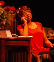 "Actress Debbi Morgan performs her one-woman play, ""The Monkey on My Back,"" at  Publick Playhouse in Cheverly, Md., on Sept. 7."