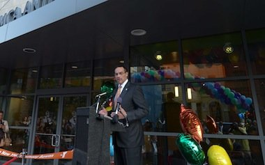 D.C. Mayor Vincent Gray addresses a crowd on Monday, Sept. 9 at the refurbished Anthony Bowen YMCA in Northwest.