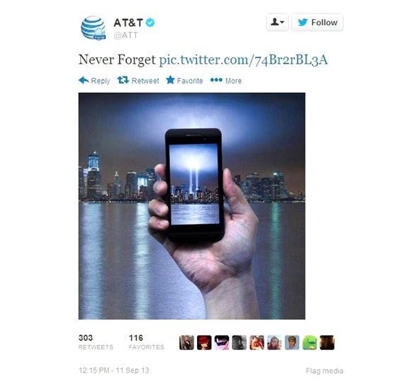 Yet another corporate social media #fail. AT&T quickly deleted a tweet on Sept. 11 after drawing ire from Twitter users ...