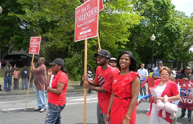 District 5 candidate Ava Callendar pauses for a moment during the recent Haitian-American parade in Mattapan. Callendar's grandmother is the former State Rep.  Willie Mae Allen and her cousin is U.S. House Majority Whip Rep. James Clyburn (D-S.C.)