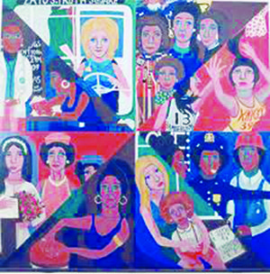"""Committee to Defend the Panthers, 1970. """"American People, Black Light: Faith Ringgold's Paintings of the 1960s."""" Cut paper poster. (Courtesy of Faith Ringgold and ACA Galleries, New York)"""