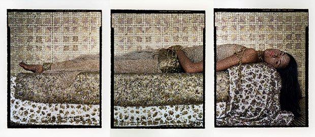 """Bullets Revisited #3,"" three chromogenic prints on aluminum by Lalla Essaydi."