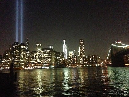 "The ""Tribute in Light"" will return for one night as a tribute to all those who were lost on September 11th. The lights are located at West and Morris Streets in lower Manhattan. The lights will be on beginning at sunset on September 11, 2013 and fading away at dawn on September 12th. There will be no formal program. The beams of light are tested the night before September 11th."