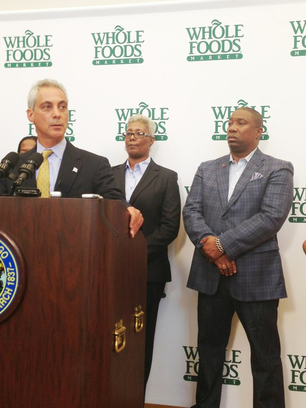(L-R) Chicago Mayor Rahm Emanuel, Chicago 16th Ward Alderman, JoAnn Thompson and  Bishop James Dukes of Liberation Christian Center were among those who spoke at Kennedy King College about the announcement of Whole Foods Market coming to the Englewood neighborhood at 63rd and Halsted.