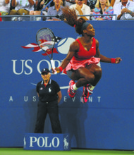 Serena Williams jumps for joy after her U.S. Open victory over Victoria Azarenka.