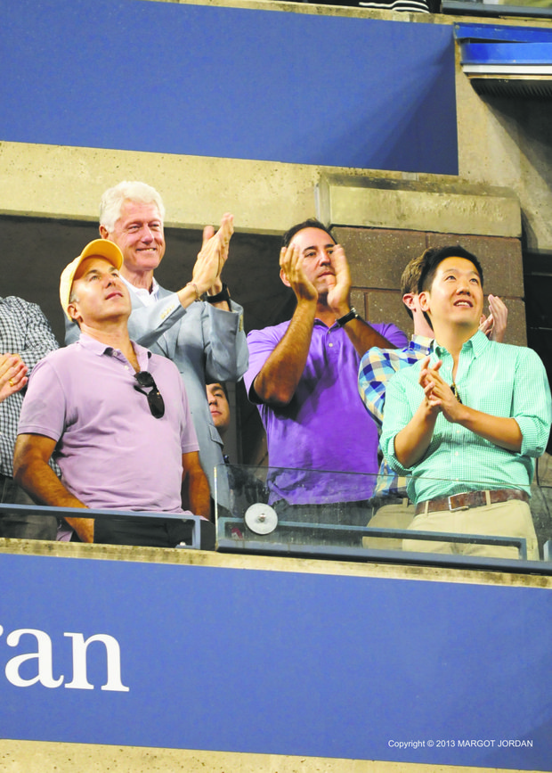 President Bill Clinton was on hand with his pals cheering Serena Williams to victory.