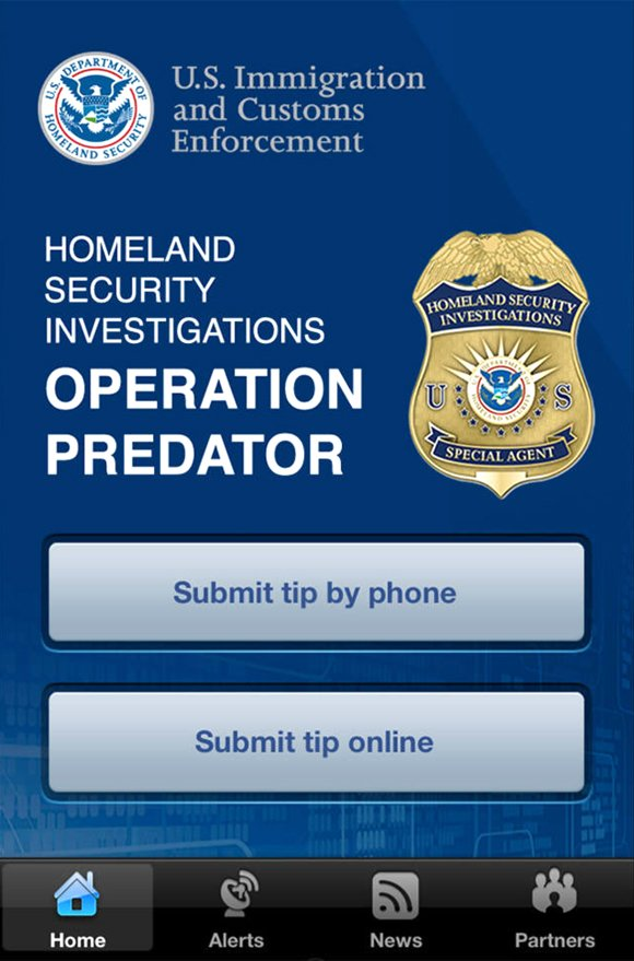 ICE debuts smartphone app for tracking sexual predators.