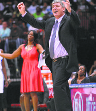 Bill Laimbeer, the Liberty coach with a young and struggling team, shows his frustration.