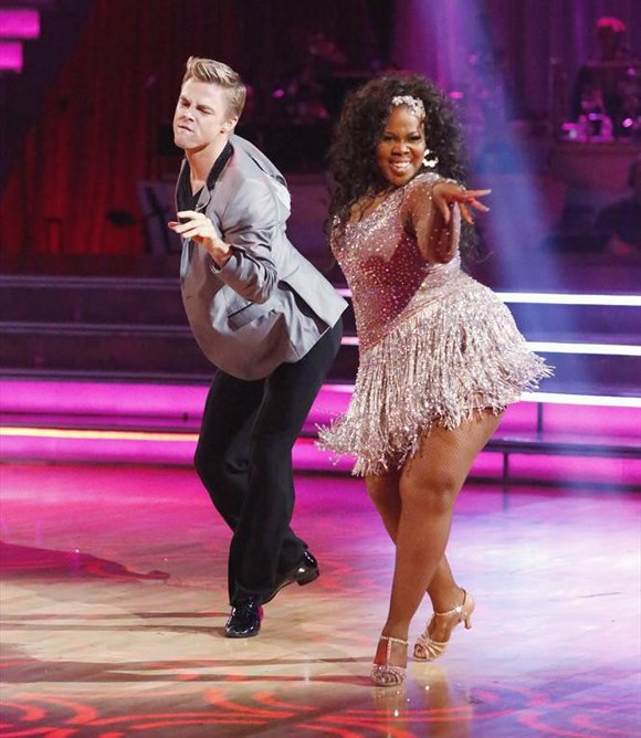 """Dancing with the Stars"" is back with an all-new cast and fresh show format. The competition began with the two-hour season premiere on Monday on the ABC. Kicking off with a spectacular opening number featuring the entire cast, each couple then performed a Cha Cha, Foxtrot or Contemporary routine. Pictured are Derek Hough and Amber Riley who landed at the top of the leader board."