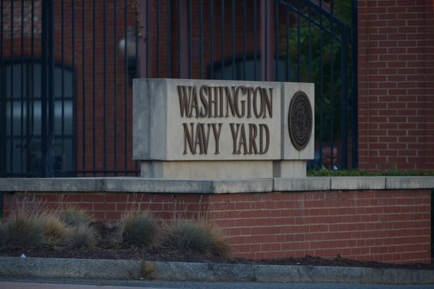 The Washington Navy Yard's M Street entrance in Southeast is seen here on Monday, Sept. 16, after a gunman went on a rampage, killing 12 people.