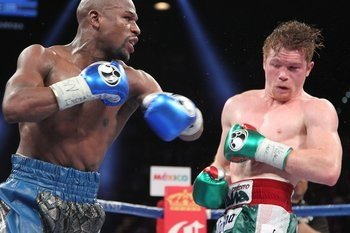 Floyd Mayweather easily defeated Saul Alvarez in a majority decision in Las Vegas on Saturday. (Tom Hogan/Hoganphotos/Golden Boy Promotions)