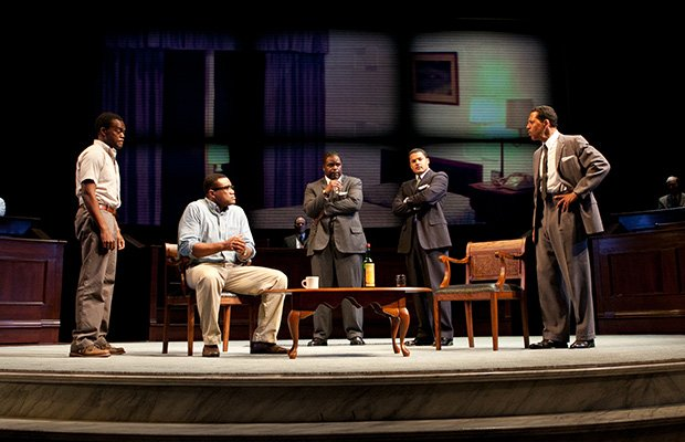 The drama All the Way from Pulitzer Prize-winning playwright Robert Schenkkan features an impressive ensemble cast with Brandon J. Dirden as the Rev. Dr. Martin Luther King Jr. and Breaking Bad's Bryan Cranston as President Lyndon Baines Johnson.