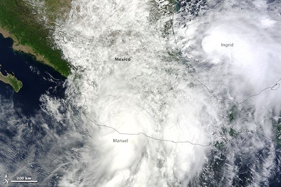 Both Hurricane Ingrid and Tropical Storm Manuel came ashore over Mexico on September 15 and 16, affecting two-thirds of the country at once. The country experienced a rare double strike as two storms moved ashore simultaneously, one from the Pacific and one from the Atlantic. The last time such an event occurred was 1958, reported the Weather Channel.