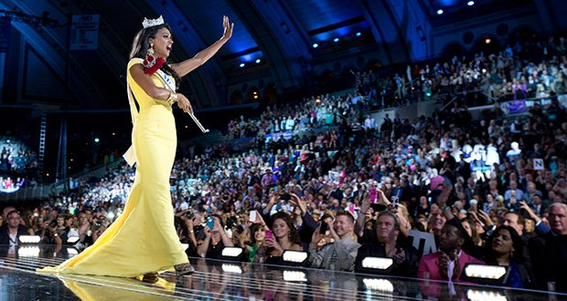 The new Miss America Indian-American Nina Davuluri, accepts her crown. Davuluri, an aspiring doctor, is the first Miss America of Indian heritage.