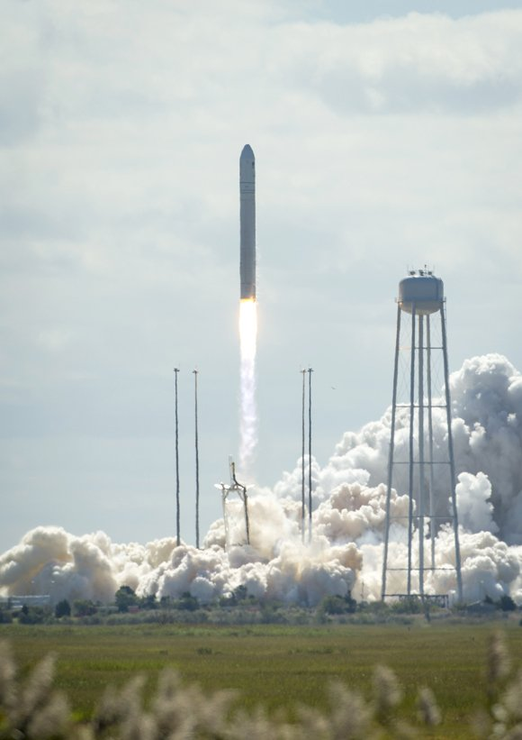 Virginia-based Orbital Sciences Corp. sent up its first entry into the space freight business Wednesday, September 18, 2013, with the launch of a new unmanned cargo carrier to the International Space Station. It's the first flight for the company's Cygnus spacecraft and the second for its Antares booster rocket. Liftoff was at 10:58 a.m. Wednesday at NASA's launch facility at Wallops Island, Virginia, about 90 miles north of Norfolk.