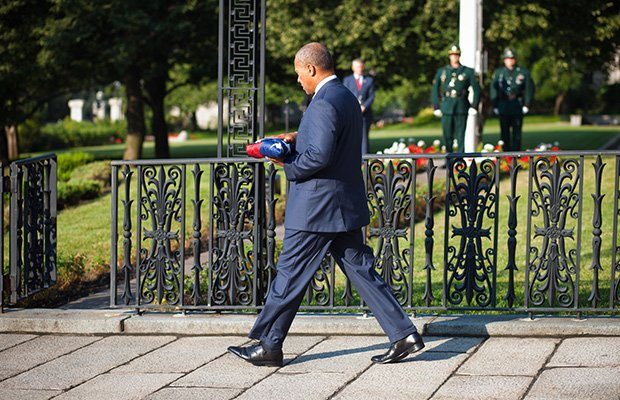 On Sept. 11, Governor Deval Patrick honored the victims of Sept. 11, 2001, by participating in a flag-lowering ceremony and reading the names of Massachusetts victims on the State House steps.