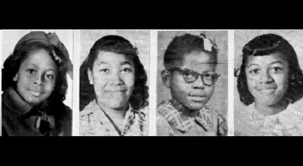 The four girls killed in the 16th Street Baptist Church in Birmingham, Alabama on September 15, 1963. From left to right: Carole Robertson, Denise McNair, Addie Mae Collins, and Cynthia Wesley.