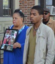 Kyam Livingston's son, Alex Livingston with his grandmother Anita Neal.