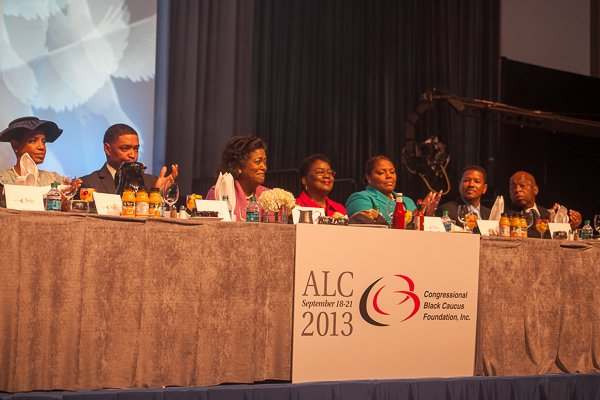 (L-R) Rep. Donna F. Edwards, Rep. Cedric Richmond, Ms. Ingrid Saunders Jones, Dr. Barbara Williams-Skinner,  Rev. Zina Pierre, Imam Talib Shareef, Rep. John Lewis at the ALC 2013 Prayer Breakfast held at the Walter E. Washington Convention Center on Saturday, Sept. 21.