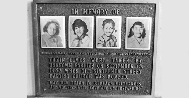 A memorial plaque at the 16th Street Baptist Church in Birmingham, Ala., for Denise McNair, Cynthia Wesley, Addie Mae Collins and Carole Robertson, the four girls killed in a bombing at the church in 1963.