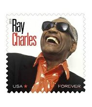The late Ray Charles now appears on a United States Postal Service forever stamp.