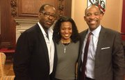 Courtney Vance with Winthrop House co-masters Stephanie Robinson and Ron Sullivan at Harvard University.