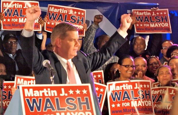 State Rep. Marty Walsh celebrates his victory in the mayoral preliminary campaign with supporters at the Venezia Waterfront restaurant in Dorchester.