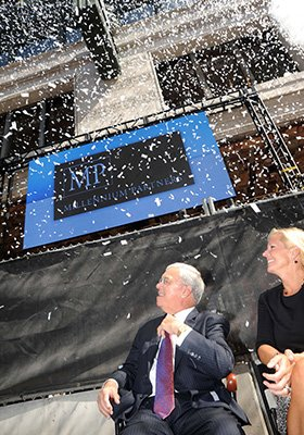 Confetti flies during the groundbreaking celebration for Millennium Tower on Sept. 17 at Downtown Crossing.