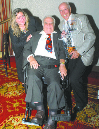 Manny Sokol, his daughter and presenter Dick Bavetta