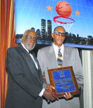 Harthorne Wingo and New York City Basketball Hall of Fame President Bob Williams