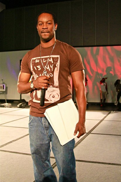 Actor Darrin Henson hosts the Back 2 School: Back to Business step show at the West Coast Expo.