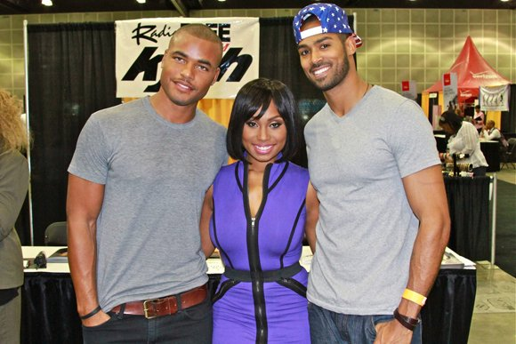 """Young and the Restless"" cast members from left to right, Redaric Williams, Angell S. Conwell and Lamont Archey pause before the start of the WCE fashion show."