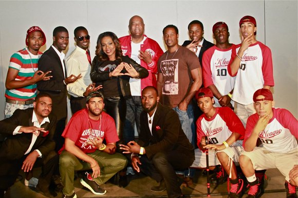 Sheryl Lee Ralph and Our Weekly COO, back row middle, David Miller joined the Kappa Alpha Psi fraternity step team.