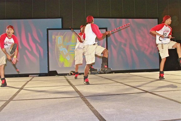 Members of the Kappa League compete with an innovative step routine.